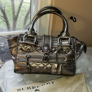 Burberry metallic gray purse